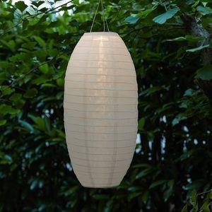 "LED solar-powered pendant lamp, oval 17"""